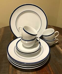 """Williams Sonoma Brasserie Blue 12"""" Round Chop Plate, 4~Dinners, & 4~Cup/Saucers"""