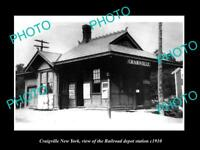 OLD LARGE HISTORIC PHOTO OF CRAIGVILLE NEW YORK, THE RAILROAD STATION c1910