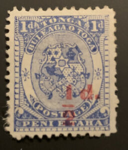 1893 Tonga Coat Of Arms 1/2d On 1d Blue Surcharge MLH SG15 CAT$35 Bar Fault