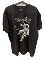 Wrangler NWT Men's Sz XXL Space Astronaut Black 100% Cotton Short Sleeve T-Shirt