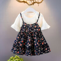 Toddler Infant Baby Girls Kids Dresses Clothes Fly Sleeve Ruched Floral Flowers