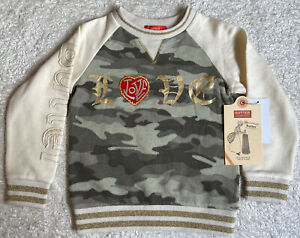 NWT Girls Butter Brand Super Soft~LOVE~Camo Pull-Over Sweatshirt Sz4