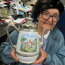 18000s European enamel pitcher w/ pewter neck handle lid & decorated w/ castles