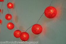 Red Cotton Ball Battery Powered Fairy Light With 20 Balls 1.9 Meters + 1.5m Lead