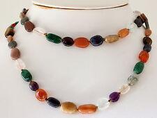 Collar con Coloridas Natural Piedra Preciosa - Disco mezcla, 80cm largos, Ovalo