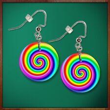"""LOLLIPOP CANDY SWIRL 1"""" Button Dangle Earrings FREE PIN  USA Seller"""