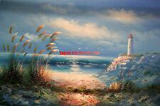 "24x36""100% hand painted oil flat,/Ocean/Beach/Seascape/Sand Dune/Light House"