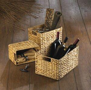Set of 3 Rectangular Woven Nesting Baskets 3 Sizes Storage Basket Cut Out Handle