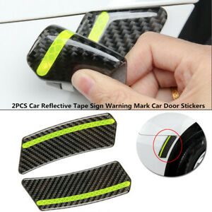 2PCS Vehicles Reflective Tape Carbon Fiber Sign Warning Mark Car Door Stickers