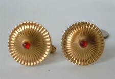 Vintage Mid Century Modern Red Stone Round Fluted Dome Cufflinks ANSON gold pl
