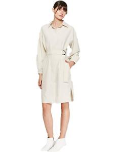 Prologue Women's Long Sleeve D-Ring Shirt Dress Cream L