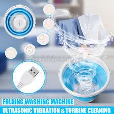 USB Mini Folding Washing Machine Ultrasonic Turbine Portable Laundry Washer