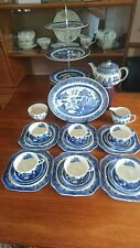 BeautifulJohnson Bro willow pattern Afternoon tea Set VGC with 3Tier Cake Stand