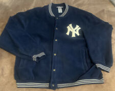Adidas New York Yankees Navy Soft Fleece Snap Front Monogrammed Jacket Large VTG