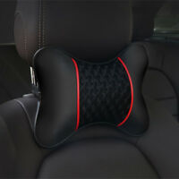 2Pcs Knitted Car Pillows PU leather Headrest Neck Cushion Support Seat Accessory