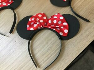 4x  Childrens Childs Kids Black Mouse Ears with Red Bow Fancy Dress Up Costume