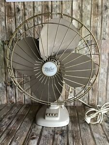 ANTIQUE ALL METAL MISTRAL 1950s FAN - LARGE & WORKING & OSCILLATING