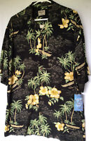 NWT Aloha Hut Outrigger Canoe Tropical Oceanscape Black Hawaiian Shirt L 614