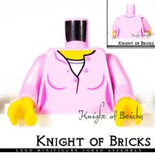 LEGO Minifigure Torso 503 BRIGHT PINK Female Top w Yellow Neck White Undershirt