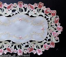 "Dutch Girl Lace Doily Table Runner 70""  European Design Tulip Flower Pink & Red"