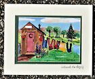 Outhouse Clothesline Personalized Art Print laundry bath room gift sign washing