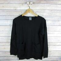 ZARA Knitwear Girls' Long Sleeve Front Pockets Crew Neck Sweater Top 11-12 Black