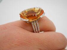 Large & Stunning 14k White Gold Fancy Citrine & Diamond Cocktail Ring Size 6.5