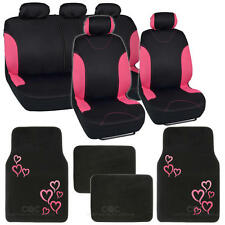 13pc Seat Covers & Floor Mats for Car Black/Pink w/ Pink Hearts Cute Design