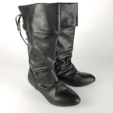 Lilley Womens Boota Size 5 Black Faux Vegan Leather Mid Calf Ruffle