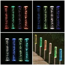 Solar 4 Tube Bubble Stake LED Light Garden Pathway Lawn Patio New Sun Power i