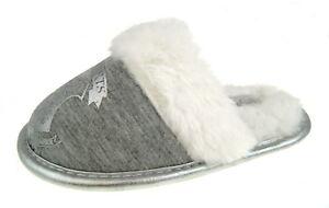 Girls Harry Potter Slippers Grey Faux Fur Hogwarts Mules Kids Xmas Gift Size
