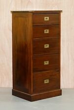 MILITARY CAMPAIGN TALLBOY CHEST WITH BRASS HANDLES AND LOTS OF STORAGE