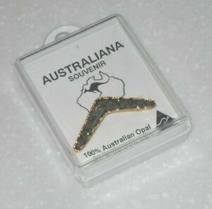 Vintage 100% Australian Souvenir Boomerang Opal 24 ct Gold Plated Brooch
