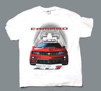 Camaro ZL1 Big Graphic White T-Shirt Red Chevy Sports Car Gildan Men's XL