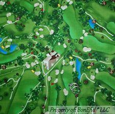 BonEful Fabric FQ Cotton Quilt Green GOLF Course Club Scenic Lake Tee Flag Ball