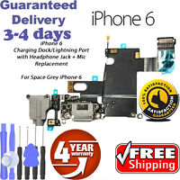 """Charger Dock Charging Port Mic Flex Cable For iPhone 6 4.7"""" Gray"""