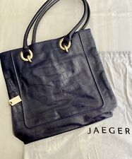 Jaeger Dark Blue Leather Bag SNAKE style - with original dust bag - used