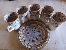 FOSTERS POTTERY 5 MUGS plus 1 plate