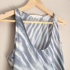 Seed Womens Tank Top Light Blue Stripes Size 8 Hilo Hem Casual Beach Style