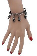 Women Pewter Metal Chain Gunmetal Bracelet Halloween Fashion Jewelry Skull Charm