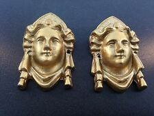 "Antique Clock Ornament Lady Head Side Case Medium 2 1/8"" Tall Set of 2"