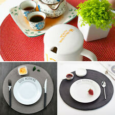 1-6PCS Round Jacquard Weaved Non Slip Placemats Dining Table Place Mats Set