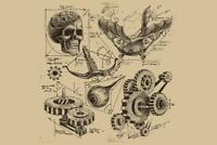 Antique Engineering Drawings Sketches Art Print Mural inch Poster 36x54 inch