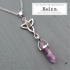 Amethyst Point & Labradorite Triquetra Pendant Celtic chakra MIND, BODY, SPIRIT