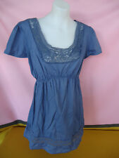 bub2b Maternity Top Size S Blue COTTON Short Sleeves With Cotton Lace #2293