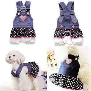 Dog Puppy Denim Dress - For Smaller Breeds - Polka Dots & Sequin Sparkle Heart