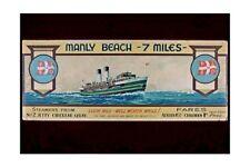 Sydney Manly Ferries Advert 1930s 2nd Art view J Allcot modern digital Postcard