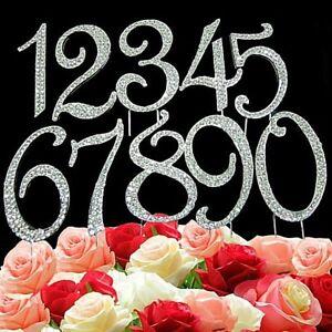 Number Cake Topper Diamante Bling Crystal Rhinestone Birthday Anniversary 7/12cm
