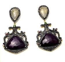 925 Sterling Silver Natural Sapphire & White Topaz Victorian earring