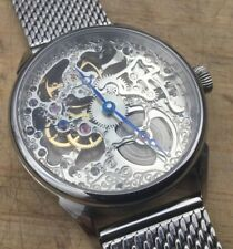 NEW Skeleton Watch - Seagull ST36 movement - 42.5mm Polished SS Case - US seller